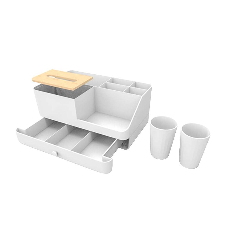 親愛なバルコニー教KNlang デスクトップドレッサーバスルーム化粧品収納ボックスベッドサイドジュエリー収納ボックス仕上げボックスクリエイティブオフィス用品 (色 : White B)