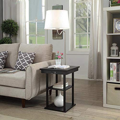 Pan&Pan Lámpara de pie LED con Puertos de Carga USB - Mesita de pie - Mesa Lateral con estantes para sofás de Sala - Lámpara con Brazo oscilante (Color : Blanco)