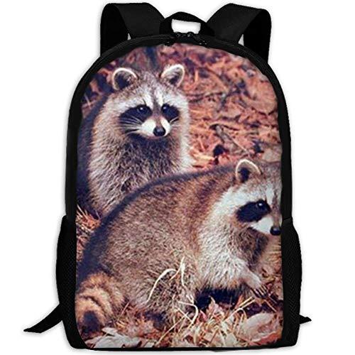 TTmom Schulrucksack,Schüler Bag,Rucksack Damen Herren Pair of Racoon Wildlife Baby Animal School Rucksack College Bookbag Unisex Travel Backpack Laptop Bag