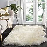 HUAHOO Genuine Sheepskin Rug Three Pelt Real Sheepskin Blanket Natural Fur (Three/3ft x 5ft, Ivory/White)