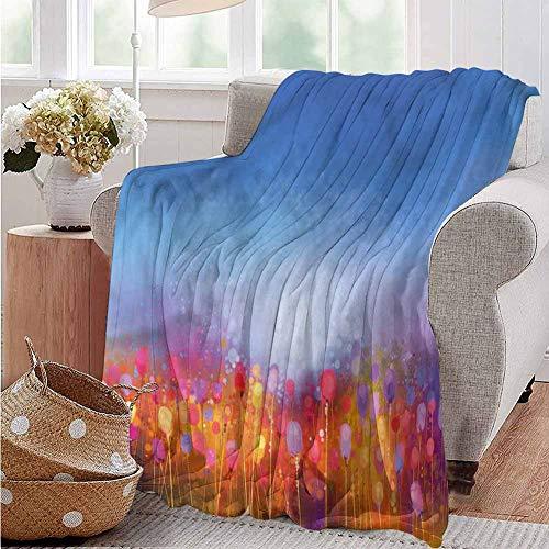 Luoiaax Flower Commercial Grade Printed Blanket Tulip Garden Watercolor Queen King W70 x L84 Inch