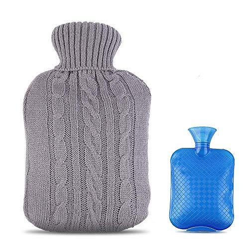 Botella de agua caliente Zorara con tapa, botella de agua caliente de 2 litros con tapa tejida, almohada calentadora de cuello alto, alivio y comodidad rápidos para el dolor