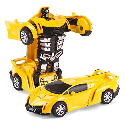 Transformer Car Toys for Boys,Refasy Children Robot Car Toy for Kid 2 1 Deformation Car for Kids Boys Playing Xmas Birthday for 3-12 Years Old Boys Girl Preschool RC Car Toys Yellow