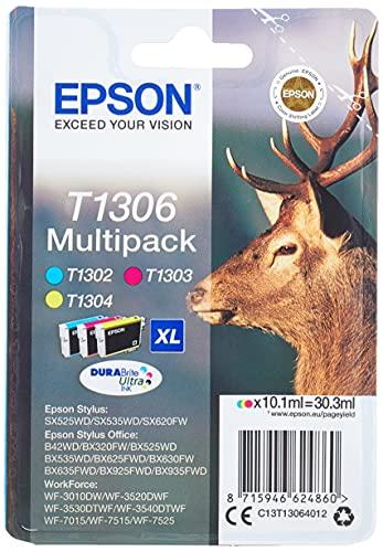 Encre d'origine EPSON Multipack Cerf T1306 : cartouches Cyan, Magenta et Jaune Amazon Dash Replenishment est prêt