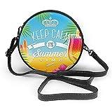 TURFED Bolso de hombro redondo de PU Playa Su horario de verano Arreglo tropical colorido Surfing Holiday Exotic Palm Tree Pattern Bolso de hombro