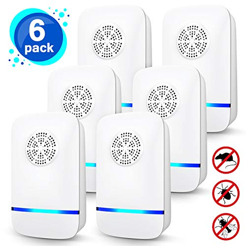 GLOUE Ultrasonic Pest Repeller, 6 Packs, 2020 Upgraded, Electronic Indoor Pest Repellent Plug in for Insects, Mice,Ant, Mosquito, Spider, Rodent, Roach, Mosquito Repellent for Children and Pets' Safe