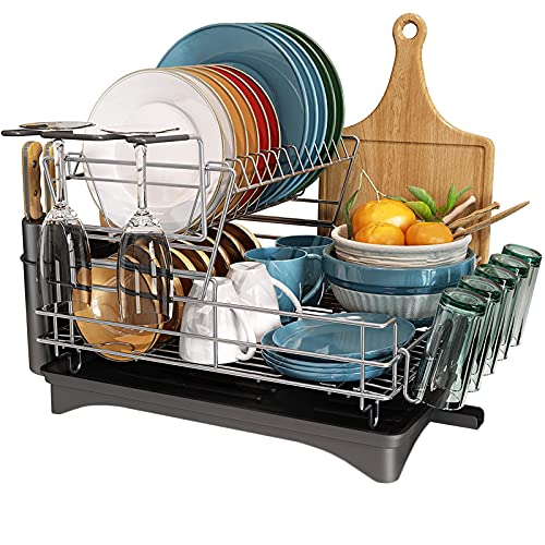 Stainless Steel Dish Drainers,Large draining rack with Cutting Board Holder, Utensil Holder and Wine Glass Holder Plate Rack for Kitchen Counter (Silver)