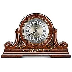 Decodyne Mantel Clock - Large Antique Design Clock with Roman Numerals - Faux Wood