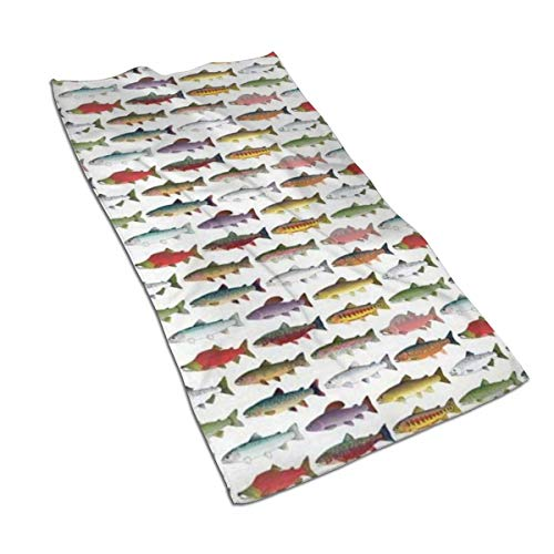 antkondnm Rainbow Colored Trout and Salmon Kitchen Towels-27.5x15.7in Microfiber Terry Dish Towels for Drying Dishes and Stains-Towels for Kitchen Decoration