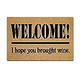 Uosliks Doormat Indoor Non-Slip Entrance Floor Mat Funny Door Mats Welcome! I Hope You Brought Wine Floor Mats Outdoor Rubber Mat Non-Woven Fabric Top Rubber Back 23.6x15.7inch/60x40cm
