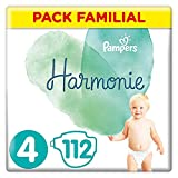 Pampers - Harmonie - Couches Taille 4 (9-14 kg) Hypoallergénique - Pack...