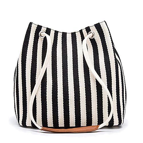 Women's Tote Bag Small Canvas Shoulder Bag Hobo Bag Daily Working Handbag (Black,Small)