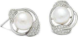 Jewelry Women Earrings Silver Plated Leaf Bead Shape Women's Earrings Anchor Ear Studs Elegant Women's Earrings Silver wit...