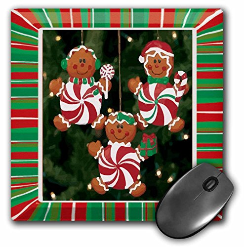 3dRose LLC 8 x 8 x 0.25 Inches Mouse Pad, Peppermint Gingerbread Ornaments (mp_14915_1)