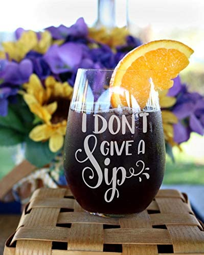 DKISEE Wine Glass Mug I Don T Give A Sip Wine Glasses Funny Wine Glass Funny Gift Gift For Couple product image