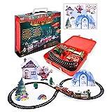 WLPTION Juego de Trenes navideños Tren de riel eléctrico para niños Juguetes con Compartimento de riel clásico con música Ligera para Regalos para niños