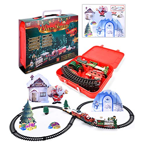 Christmas Train Toys Set for Kids, Electric Train Set with Light, Music Sounds, Christmas Tree, Snowman, Include 3 Cars and 15 Tracks, Christmas Trains Sets for 2 3 4 5 6 Years Old Boys Girls Toddlers