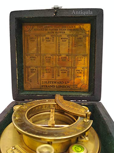 Antique Look Maritime Ship Navigation Brass Sailor Sundial Compass with Wooden Box Vintage Gift Item J.H.Steward Ltd. Strand London Functional Sundial with time Chart