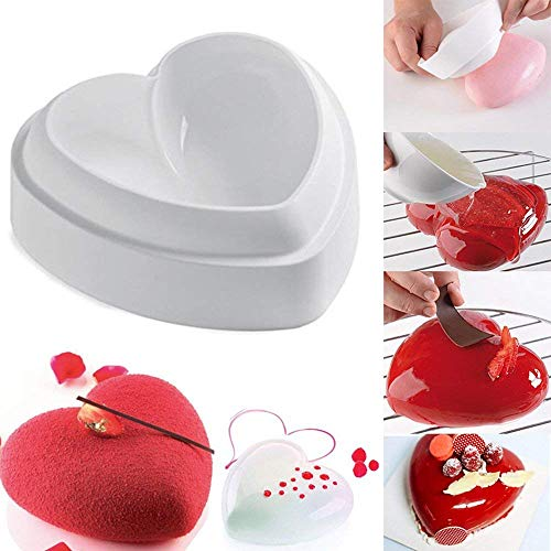 3D Silicone Love Heart Shape Cake Mold Amore Baking Pastry Molds Chocolate Jelly Mousse Bread Mould Savoury Cake Pan, 1 Pcs