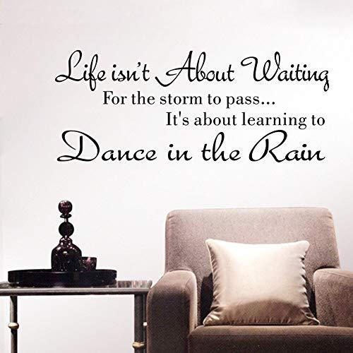 BLOUR Kreative Mode Text Leben ist Nicht über das Warten auf Wandaufkleber Zitat Tanzen im Regen Wandtattoo Worte Einfach Hochwertig & jw