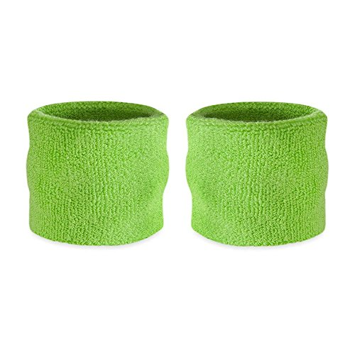 Suddora Kids Wrist Sweatbands - Athletic Cotton Terry Cloth Sports Wristbands for Kids (Pair) (Neon Green)