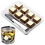 Cubitos De Hielo De Acero Inoxidable Para Bebidas Cubitos De Hielo Domésticos Congelados Rápidamente Dorados Cubitos De Hielo Reutilizables Jugo De Naranja Cerveza Whisky Vodka Bebidas De(Color:8 pcs)
