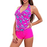 Toocool - Bikini Tankini Donna Costume Bagno Mare Due Pezzi Fiori Shorts Top Nuovo F8068 [40,Fuxia]