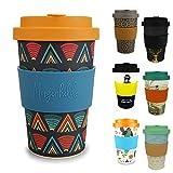 Morgenheld Dein trendiger Bambusbecher | Coffee-to-Go-Becher | Kaffeebecher mit Schraubdeckel und Banderole in coolem Design 400 ml Füllmenge (Ethno)