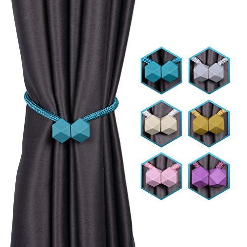 INHDBOX Magnetische Vorhang Raffhalter Kreativ Vorhang Clips Seil Rückwärtige Vorhang Halter Schnallen Vorhang Binder Gardinenhalter für Haus Dekoration 2 Stück (Blau)
