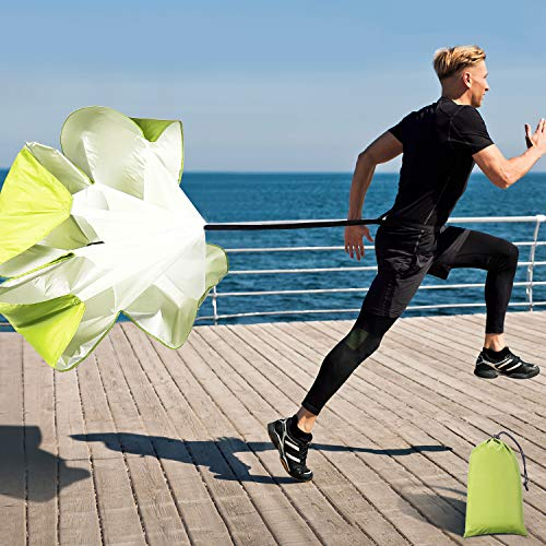 Running Speed Training, 56 Inch Speed Chute with Carry Bag, Resistance Running Parachute for Football SoccerTraining Kids Youth and Adults (Light Green)