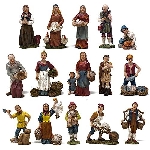 Joy Christmas Pastori Mestieri in Resina 10 cm per Presepe Set 15 Pezzi Assortiti - 46002