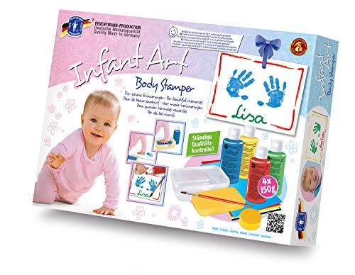 Feuchtmann 628.0821 - Infant Art Body Stamper, Mal- und Abdruck-Set für Babys, umfangreiches 13-teiliges Baby-Set mit 4 Farben, Tonpapier, Stempelkissen und Schwamm, für kreatives Spielen