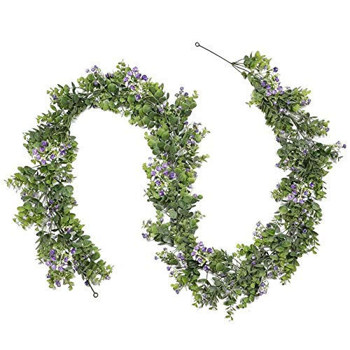 Basage Artificial Eucalyptus Garland Faux Silver Dollar Eucalyptus Leaves with Purple Flower Vines for Greenery Garland Table
