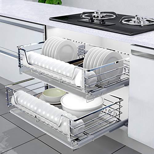 Dish rack 2 Piezas Cestas de Alambre extraíbles Base de Cocina Unidades más Grandes Estante Organizador de Almacenamiento, gabinete extraíble Cesto para Platos de 2 Niveles Cesto extraíble