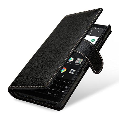 StilGut Talis Lederhülle für BlackBerry Key2 mit Kreditkarten-Fächern aus echtem Leder. Seitlich aufklappbares Flip Hülle in Brieftaschen-Format, Schwarz