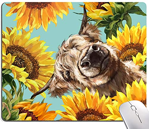 Highland Cow with Sunflowers Mouse Pad, Mouse Pad Custom Design, Square Waterproof Mouse Pad Non-Slip Rubber Base MousePads for Office Laptop, 9.5'x7.9'x0.12' Inch