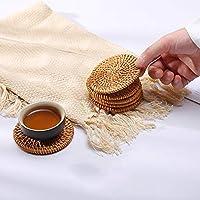コースター天然素材ファッションソーサーセット籐コースター断熱パッドファッション重ね合わせと簡単な保管伝統的な工芸品 (【13cm】6個)