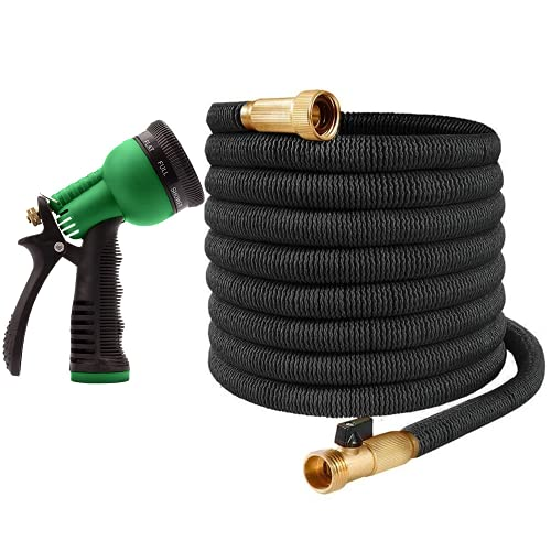 """Ovareo Garden Hose, Flexible and Expandable Garden Hoses, Heavy Duty Triple Latex Core with 3/4"""" Solid Brass Fittings, 8 Function Hose Spray Nozzle, Easy Storage Kink Free Water Hose (50 FT, Black)"""