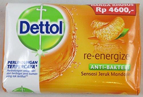 Dettol Anti-Bacterial Bar Soap, Re-Energize, 110 Gr / 3.9 Oz (Pack of 12)