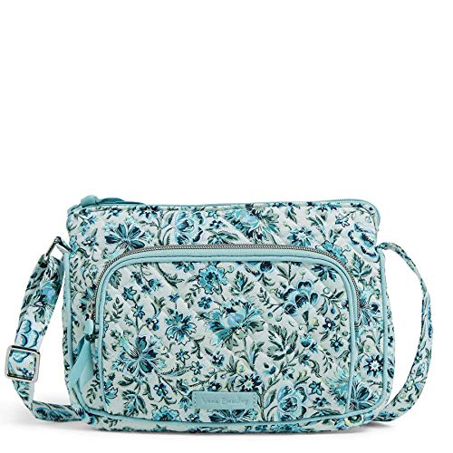 Vera Bradley Signature Cotton Little Hipster Crossbody Purse with RFID Protection, Cloud Vine