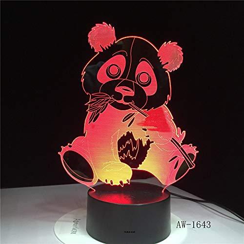 BFMBCHDJ Panda che mangia la luce notturna di bambù 3d Lampada da notte visiva variopinta telecomandata 3D di tocco della lampada dei bambini
