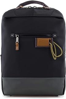 Mochila Pequeña de Nailon y Detalles en Piel Natural, Compartimento para un Portátil de 13 Pulgadas, Personalizable con tu Nombre, 25x37x6cm, en Color Negro