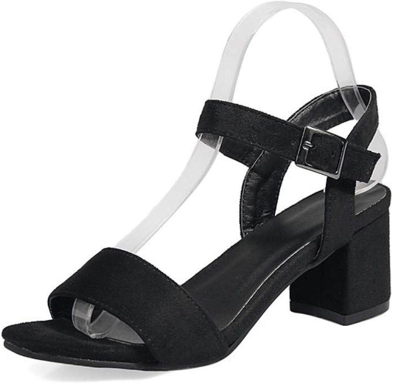 IWlxz Women's Block Heel Sandals Leatherette Spring Summer Sandals Chunky Heel Open Toe Black Green