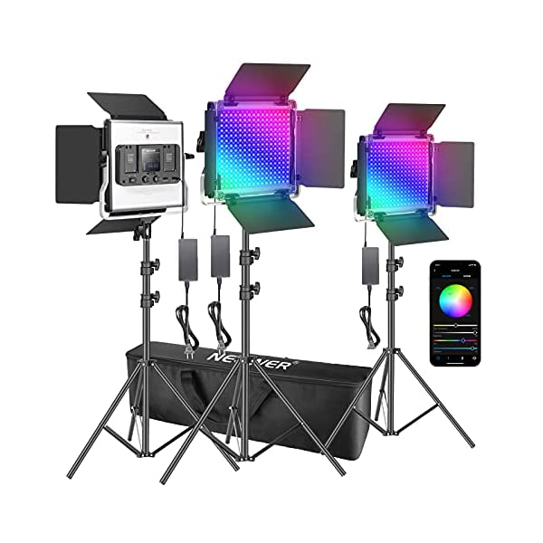 Neewer 3 Packs 530 RGB Led Light with APP Control, Photography Video Lighting Kit with Stands and Bag, 528 SMD LEDs…