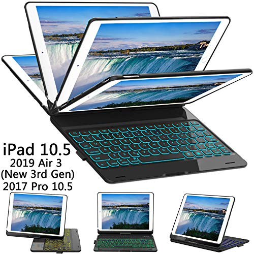 ILEBYGO iPad Pro 10.5 Keyboard Case with Pencil Holder for iPad Pro 10.5 inch 2017/iPad Air 10.5(3rd Gen) 2019, 360 Rotatable Wireless Bluetooth Backlit/Auto Sleep-Wake/Ultra-Thin Keyboard(Black)