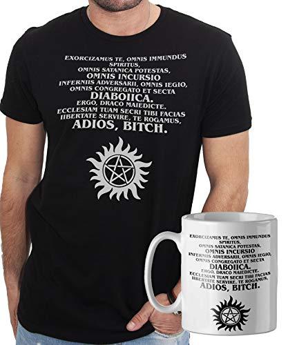 iMage Promo T-Shirt con Tazza Mug Abbinata Supernatural Preghiera esorcismo Winchester - Serie TV - Uomo XL - Nera