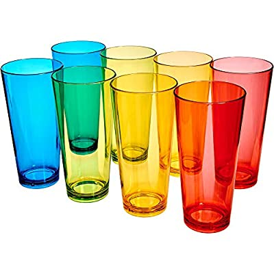 Amazing Abby Andes - 30-Ounce Acrylic Plastic Tumblers (Set of 8), BPA-Free and Shatter-Proof, Mixed-Color High-Balls, Plastic Drinking Glasses