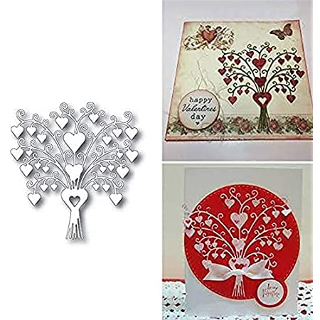 FVVMEED 2 Pieces Happy Valentines Day Cutting Dies for Card Making Cut Die Metal Stencil Pattern Template Die Cuts Mould for DIY Embossing Scrapbooking Paper Birthday Festival Decoration Supplies