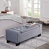 BELLEZE 48' Rectangular Fabric Tufted Storage Ottoman Bench, Large, Slate Grey