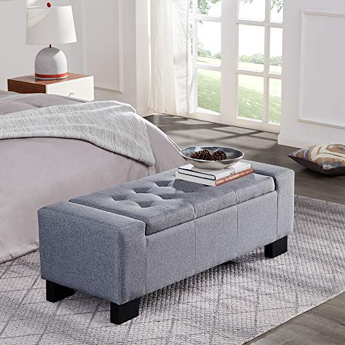 "Belleze 48"" Rectangular Fabric Tufted Storage Ottoman Bench, Large, Slate Grey"